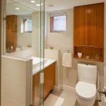 Over The Toilet Storage White Bathroom Mat Window Shade Recessed Lighting Wooden Vanity Whitesink Mirror Towel Holder