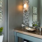 Powder Room With Grey Wallpaper, Blue Wooden Table With Brown Marble Top, Blue Dots Mosaics Backsplash, Golden Metallic Sink