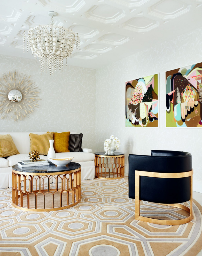round area rugs for living room chandelier white couch gold morrocan coffee table with black gold black chair side table sunburst mirror artworks