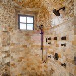 Sliding Shower Head Natural Stones Wall Tiles Black Framed Square Window Built In Shelves Rustic Black Shower Fixture Wall Mounted Shower Head