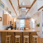 Wood Stool Light Wood Kitchen Cabinets Island Wooden And Black Granite Countertops Stovetop Range Hood Glass Pendant Lamps Sink Oven