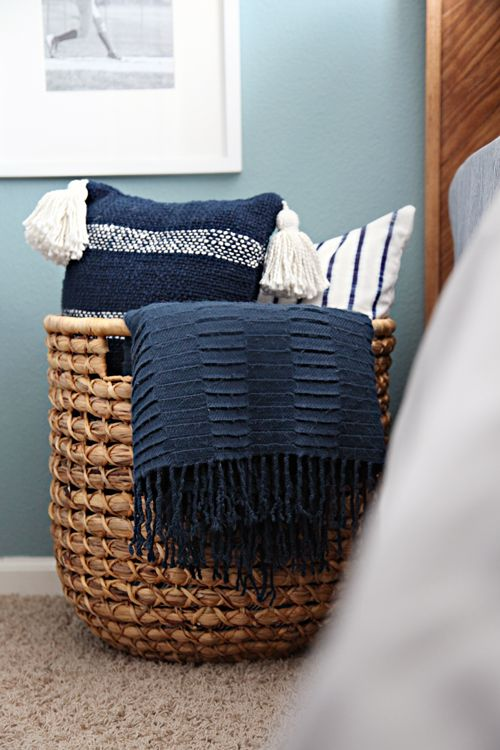 basic woven basket for pillows and blanket storage