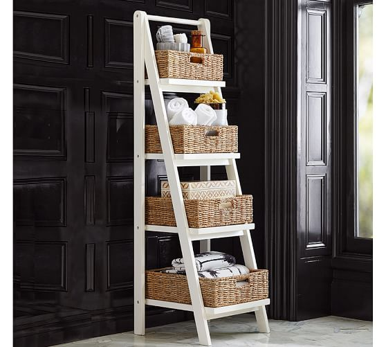 basket weaving for toiletries in the bathroom stred in the ladder
