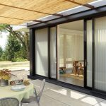 Blinds For Door Window Black Framed Sliding Glass Doors And Windows Outdoor Table Outdoor Chair Concrete Floor Wooden Chairs