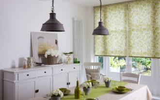 blinds for door window patterned blinds black industrial pendant white doors white cabinet dining table chairs green table runner