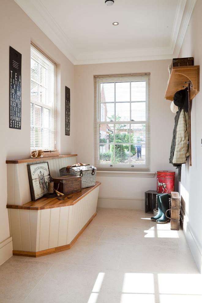 coat rack wall mount hats built in wooden bench white floor tile black and white decorations white framed glass doors