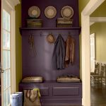 Coat Rack Wall Mount Purple Accent Wall Rattan Baskets Cushions Red Patterned Area Rug Wooden Bench Glass Doors