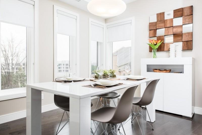 dining chair modern artwork white dining table black floor tile white pendant lamp white cabinet white shade wndows