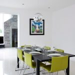 Dining Chair Modern Green Chairs Black Dining Table Chrome Pendant Lamp White Floor Tile Artwork White Walls
