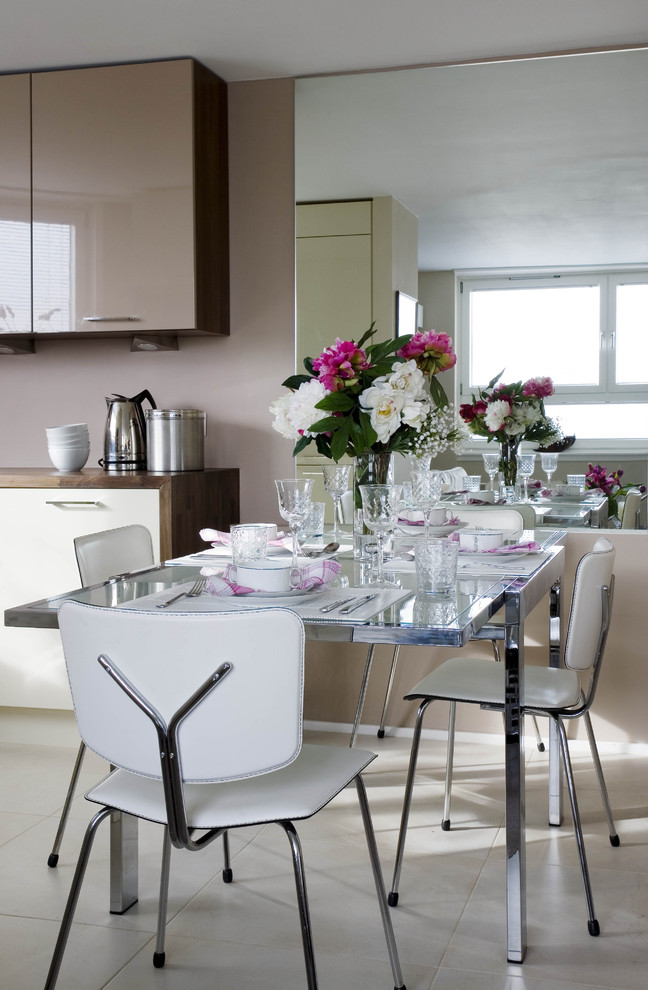 dining chair modern white chairs chrome base glass dining table beige floor glass flower vase kitchen cabinets windows