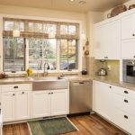 Elkay Lustertone Sink Bamboo Woven Shade Windows Pendant Lamps White Cabinets Wooden Floor Countertop Dishwasher Stove Oven Refrigerator