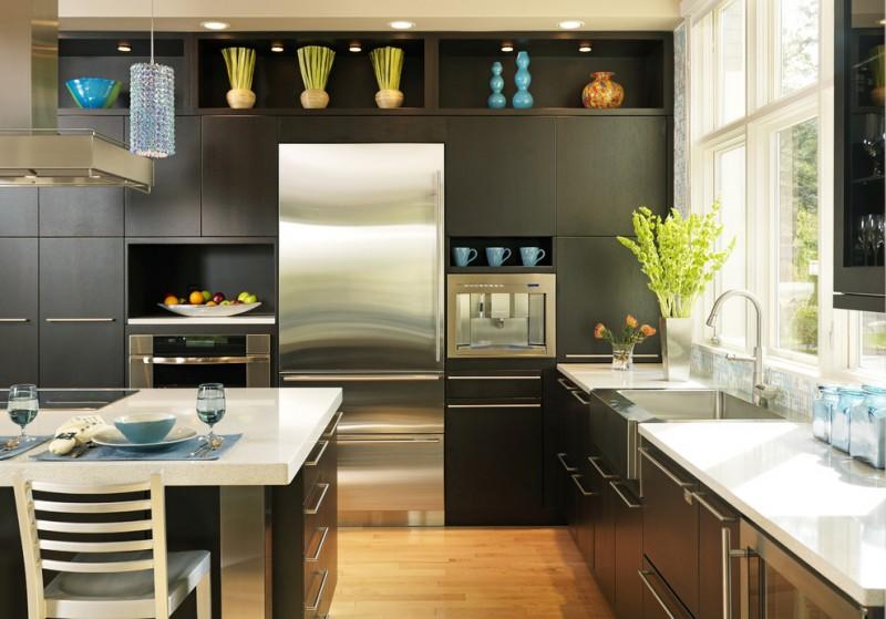 elkay lustertone sink dark cabinet island windows white countertops refrigerator oven built in appliances stovetop range hood