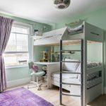 Kids Bedroom Desk Ceiling Lamp Purple Rug Purple Curtain White Bunk Bed Grey Ladder Wooden Floor Windows Wall Mirror