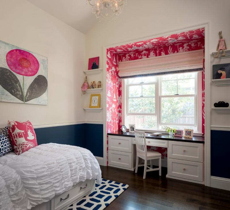 kids bedroom desk chandelier windows accent walls artwork white bed drawer wooden floor shelves white chair black desk