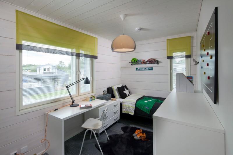kids bedroom desk pendant lamp green valance table lamp white desk black rug black bedding dressers windows white chair