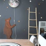 Nursery With Wooden Flor, Round Black And White Rug, Planet Lamp, Sky With Stars Wall
