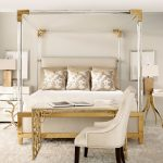 Queen Size Canopy Bed Sets Gold Accent Nightstand Side Table White Armchair White Gold Desk White Shag Rug Table Lamps Frames Pillows