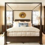 Queen Size Canopy Bed Sets Wall Mirror Windows White Table Lamp Wooden Nightstands White Silk Bedding Wooden Cabinet Striped Area Rug Curtains