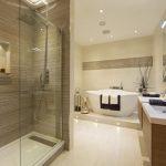 Solid Shower Base Recessed Lighting Wooden Floating Vanities Glass Mirrors Acrylic Freestanding Bathtub Wall Sconces Glass Shower Door