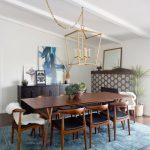 Solid Wood Dining Table Sets Blue Rug Chandelier Wooden Chairs Shag Throw Black Cabinet Wooden Floor Mirror Artwork