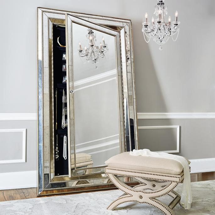 square mirror with three thin mirror frame and cabinet inside