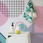White Smallw Wooden Cabinet With Colourful Background With Motives