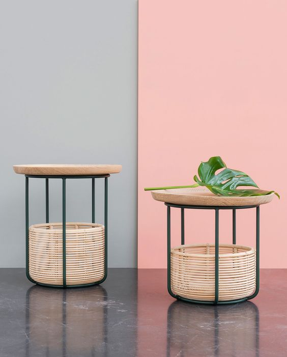 woven ratta for tray coffee table with baskets below