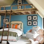 A Kid Bedroom With White Floor, Blue Wall, Vaulted Ceiling, Bed, White Chair, Big Stuffed Animal, A Wooden Added Space With Stairs