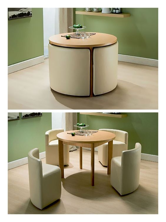 a round table with white chairs compacted under the table
