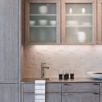 Backsplash Texture 3d Porcelain Backsplash Tile Undermount Sink Wooden Cabinets Frosted Glass Cabinet Doors Faucet Recessed Light