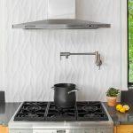 Backsplash Texture Modern Wall Mounted Range Hood White Porcelain Backsplash Stovetop Wooden Cabinet Glass Window Grey Countertop