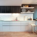 Backsplash Texture Wooden Floor Black And White Cabinets Wooden Stools Mounted Wooden Island Pendant Lamp Stovetop Sink Wall Mounted Shelves