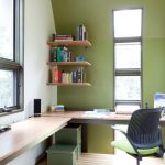 Bamboo Desk Top Glass Windows Wall Mounted Wooden Bookshelves Office Chair Boxes Wooden Floor Green And White Walls Recessed Lighting