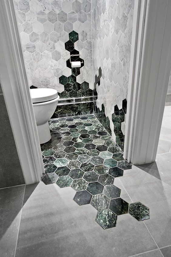 bathroom with white and black hexagonal transition