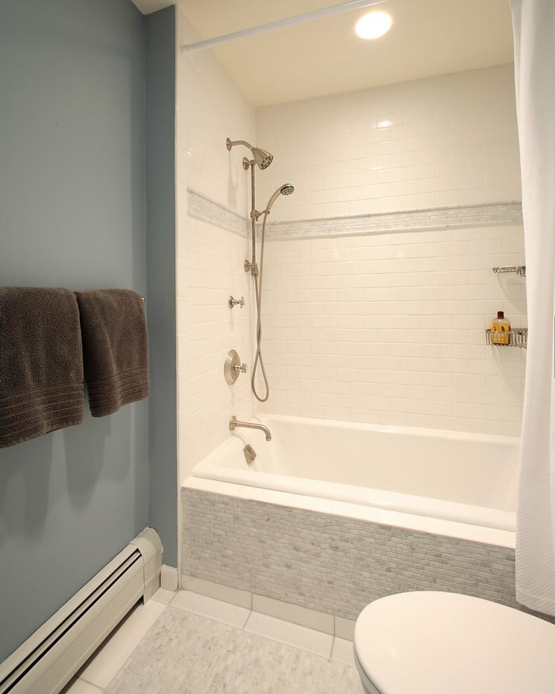 bathtub cartridge built in tub brushed nickel shower fixture white shower tile grey bathroom mat towel holder white shower curtain