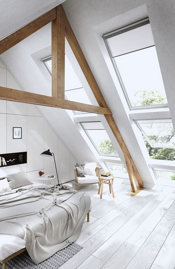 bedroom with white wooden floor, white painted ceiling with large glass windows on the slanting ceiling, no wall, white bed and chair