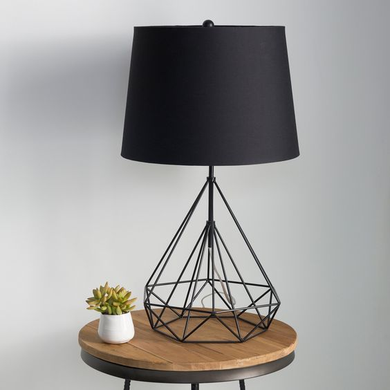 black top lamp with geometric metal frame support