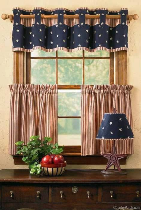 cafe curtain with red white striped pattern and white stars on blue background