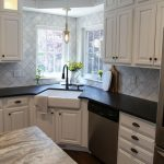 Corner Sink With White Large One Basin Undermounted From Black Kitchen Top