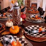 Dining Table With White And Black Plaid Plate, Pumpkin Accessories