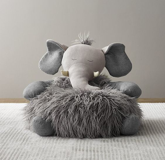 elephant bean bad with faux fur