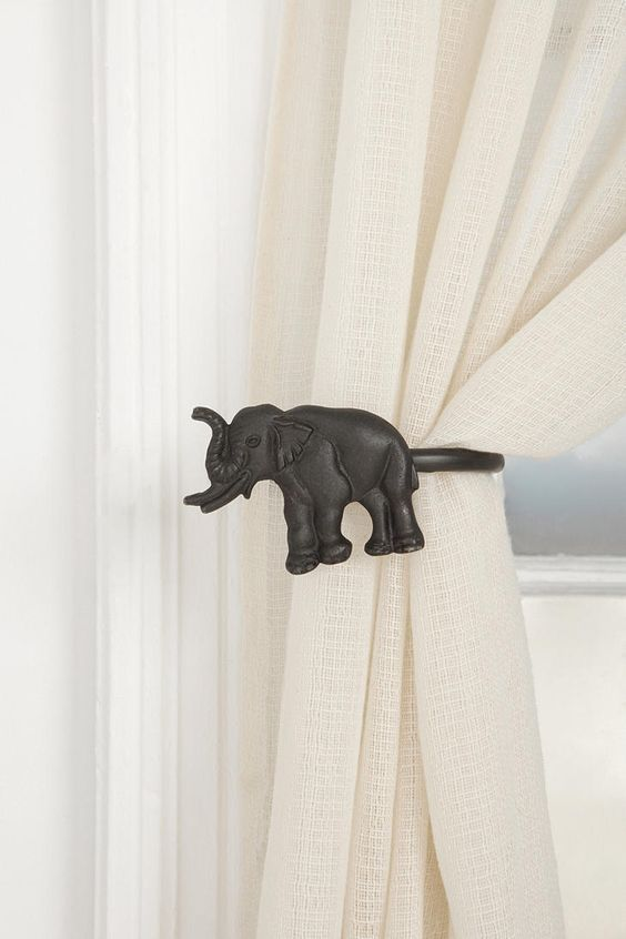 elephant black metal curtain tie back