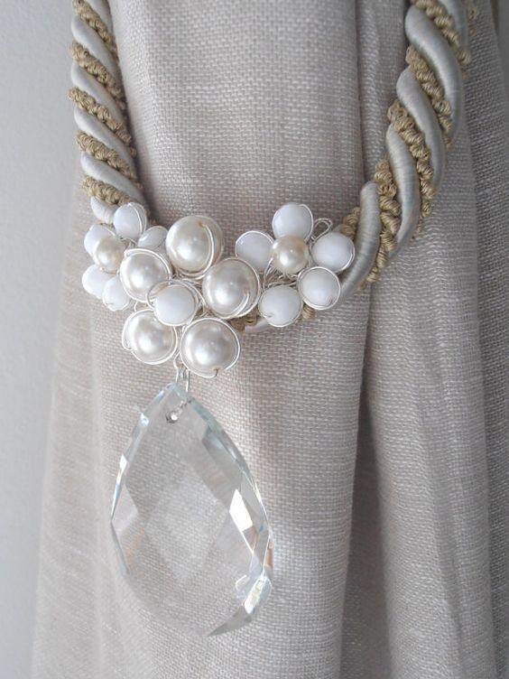 faux pearl and diamond curtain tie backs