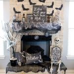 Fireplace With Light Brown Stones, Red Wooden Floor, Black Clothe Cover, Black Bats Sticker