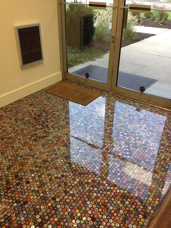 flooring with small round shape details under the glass