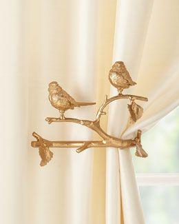 golden birds curtain tie backs