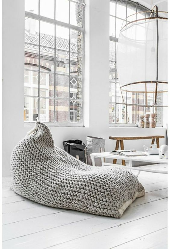 grey knit avocado bean bag