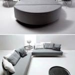 Grey Round Bed Opened To Semi Round Sofa