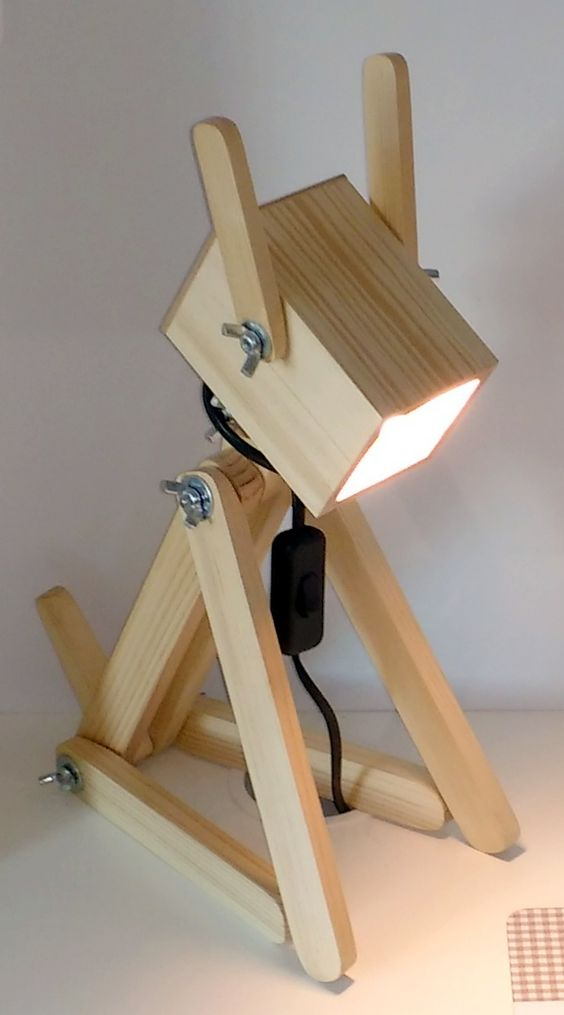 human shaped wooden table lamp