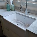Kitchen With White Marble Top, White Wooden Cabinet, Stainless Steel Adjustable Tap, White Large Sink